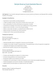 Sample Revenue Cycle Specialist Resume Resume Cleveland