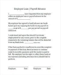 Company Loan To Employee Agreement Employee Loan Agreement Form Letter From Company To Format