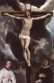 christ on the cross adored by donors painting el greco christ on the cross adored
