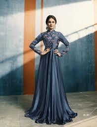 Satin Silk Dress Designs Graysish Blue Satin Silk New Design Anarkali Dress Patterns With Price