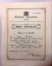 Merit Certificate 1936 Victorian Collections