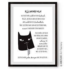 Katzen Küchen Regeln Kunstdruck Ungerahmt Din A4 Amazonde Handmade