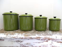 Green Canister Sets Kitchen Vintage Green Enamel Canister Set Metal Canister Kitchen
