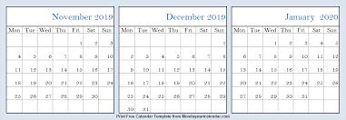 Nov Dec 2019 Jan 2020 Calendar Blank 3 Month Calendar