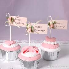 2019 Fashion Bow Knot Cupcake Decor Happy Birthday Letter Cake Card