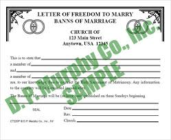Freedom To Marry Banns Of Marriage Certificate