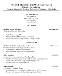 Entry-Level Finance Resume