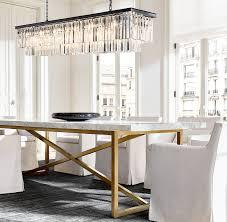 1920s odeon clear glass fringe rectangular chandelier 71