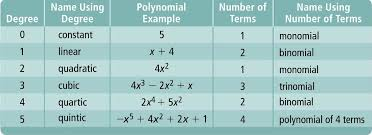 Classifying Polynomials By Degree And Number Of Terms Chart Review Page Polynomial Functions Polynomials Linear