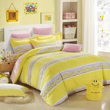 lemon yellow white and grey cute farm animal en and wide stripe print kids girls boys full queen size durable cotton bedding sets