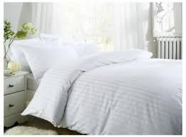 hotel satin stripe duvet cover white