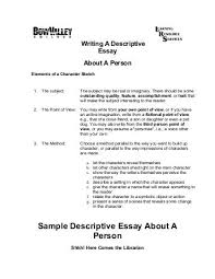 sample of a descriptive essay co sample