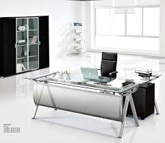 modern executive glass computer desk l shaped metal office table with glass top
