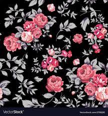 Rose Pattern Enchanting Rose Seamless Pattern Pink Black Royalty Free Vector Image