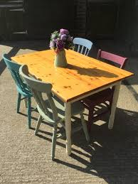 Pine Kitchen Table And Chairs Solid Pine Kitchen Dining Table With 4 Mismatched Chairs Revival