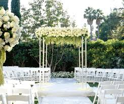 Outdoor Wedding Altar, Green and White Flowers