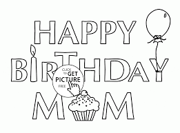 Small Picture Card for Birthday Mom coloring page for kids holiday coloring