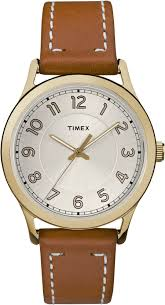 timex womens tw2r23000 new england gold tone brown leather strap watch