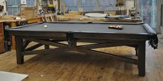 custom pool tables. 4and A Half By Nine Foot Custom Pool Table. Claro Walnut Rails, Figured Mother Of Pearl Sights, Rainbow Finish Steel Base, Three Piece Slate And Simonis Tables I