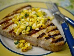 grilled tuna steak with charred corn vinaigrette