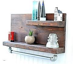 wooden towel shelf bathroom wall shelves wood mounted beautiful rustic pipe with bar