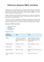 Business Checking Account Comparison Chart Difference Between Nbfc And Bank