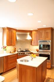 Natural Cherry Cabinets Traditional Kitchen Stainless Steel Appliances Table Style