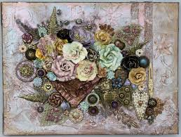 all of my assemblage creations fall into the category of 3d wall art some more than others as with this 9 x 12 lush 3d flower canvas that measures 2 5  on 3d flower wall canvas art with 3d roses on canvas