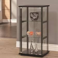 Metal Glass Display Cabinet Coaster Curio Cabinets 3 Shelf Contemporary Glass Curio Cabinet