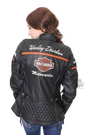 harley davidson womens miss enthusiast b s quilted triple vent system black leather jacket