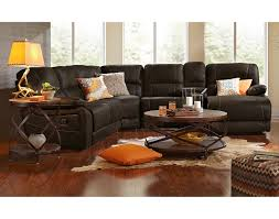 interesting black leather sofa value city furniture living room sets with round table and unique rug
