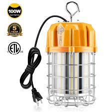 Led Temp Construction Lights Led Temporary Construction Lighting 100w Daylight 5000k 14 500lm High Bay Fixture 400w Mh Hps Equiv Plug N Play 10ft Cord Hanging Portable