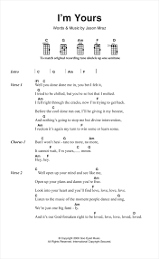 I M Yours Ukulele Strumming Pattern Inspiration I'm Yours Sheet Music By Jason Mraz Ukulele Lyrics Chords 48