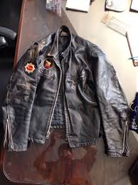 vintage leather motorcycle biker jacket by thriftcityfurniture