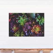 green purple succulents printed canvas wall art