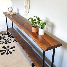 shelf narrow sofa table reclaimed wood