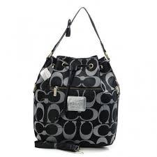 Coach Drawstring Medium Black Shoulder Bags BAU