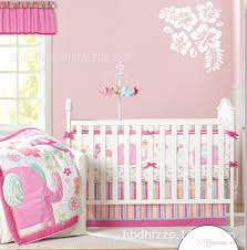 pink elephant pattern for girl nine pieces baby crib bedding sets include quilt bed around mattress cover bed skirt diaper bag curtain crib bedding set baby