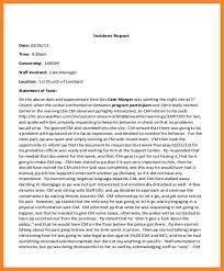 Incident Report Example Bio Resume Samples