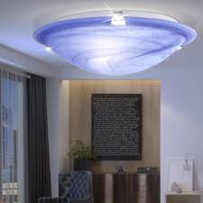 Led Ceiling Lamp With White Body And Blue Shade