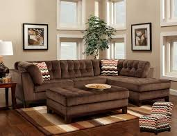 furniture elegant brown l shaped gray tufted sectional sofa with chaise and comfortable fabrics sheet for