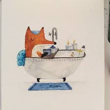 <b>Mr</b>. <b>Fox</b> and Mr. Duckie are taking a bath. I wish I have time for bath ...