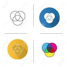 Venn Diagram Color Cmyk Or Rgb Color Circles Icon Venn Diagram Overlapping Circles
