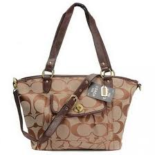 Coach Logo Signature Lock Medium Khaki Totes 20364