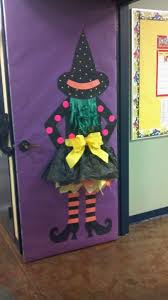 Halloween Door Decorated With A Witch