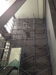 pipe scaffold installation for interior painting downtown manhattan nyc painting and scaffolding