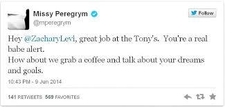 Zachary Levi' ex-wife Missy Peregrym's tweet