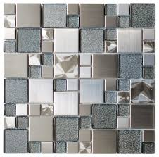 modern cobble stainless steel with silver glass tile 11 8 x11