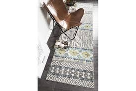 amelia blue yellow grey coastal durable runner rug 500x80cm