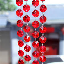 y red 100m crystal octagonal beads chain for chandelier hanging parts wedding accessories window hanging pendant decoration chain for chandelier pendant